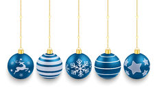 5 Blue Christmas Baubles White Background Stock Photography