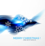 Blue Christmas blurred waves and snowflakes Royalty Free Stock Photos