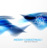 Blue Christmas blurred waves and snowflakes Royalty Free Stock Photo