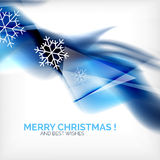 Blue Christmas blurred waves and snowflakes Royalty Free Stock Image