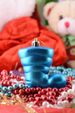 Blue christmas boot with gifts, new year holiday Stock Photo