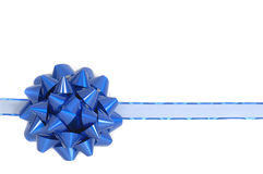 Blue Christmas bow and ribbon Stock Photography