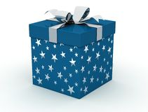 Blue christmas box. On white background - digital artwork Royalty Free Stock Photo