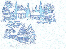 Blue christmas card. Landscape under snow Royalty Free Stock Images