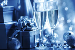 Blue christmas card Stock Images