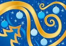 Blue Christmas card. Vector illustration Royalty Free Stock Photo