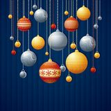 Blue christmas card. Blue card with christmas balls, vector illustration Royalty Free Stock Photos