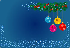Blue Christmas card. Vector illustration of Christmas card with ribbons and christmas balls Royalty Free Stock Photo