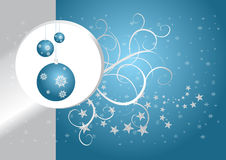 Blue christmas card. Blue and silver christmas card with globes and snowflakes Royalty Free Stock Images