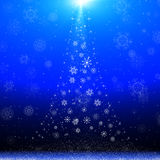 Blue christmas card with abstract christmas tree Royalty Free Stock Photo