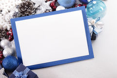 Blue Christmas card background with decorations and copy space Royalty Free Stock Photography