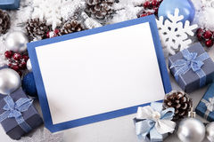 Blue Christmas card background with decorations and copy space Royalty Free Stock Photo