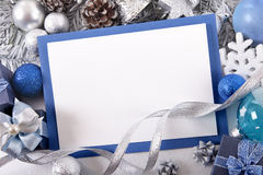 Blue Christmas card background with decorations and copy space Stock Photography