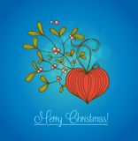 Blue Christmas card with branch of mistletoe Stock Image