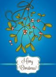 Blue Christmas card with branch of mistletoe Royalty Free Stock Photo