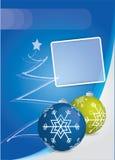 Blue Christmas card with Christmas balls Stock Image