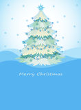 A blue christmas card with a christmas tree Royalty Free Stock Photography