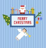 Blue Christmas card with cute Santa Claus, Christmas angel and presents Stock Images