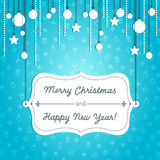 Blue christmas card. Holiday card with Christmas decoration and label vector illustration