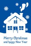 Blue christmas card with house. And snowflakes Royalty Free Stock Image