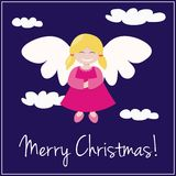 Blue Christmas card invitation with angel. Vector card or invitation for christmas party with sweet happy angel, clouds, sky and Merry Christmas wishes vector illustration