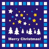 Blue Christmas card or invitation with mosaic. Blue background, vector card or invitation for christmas party with stars, trees and Merry Christmas wishes Stock Photos