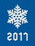 Blue Christmas Card 2017 with Isometric 3D Snowflake. Christmas Card with White Isometric 3D Snowflake on Christmas Blue Background. Editable Vector EPS10 Stock Photos