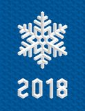 Blue Christmas Card 2018 with Isometric 3D Snowflake. Stock Photography
