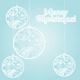 Blue Christmas card with paisley baubles Royalty Free Stock Image