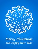 Blue christmas card. With paper snowflake and sign Royalty Free Stock Photo