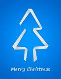 Blue christmas card. With paper christmas tree Stock Images