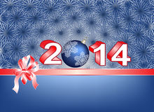 Blue Christmas card with ribbon over 2014 Royalty Free Stock Photo
