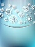 Blue christmas card with snowflakes Stock Photos