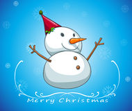 A blue christmas card template with a snowman Stock Photography