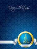 Blue christmas card with white ribbon Stock Photos