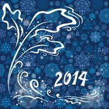 Blue christmas card 2014. Winter greeting postcard with 2014 numbers and glowing snow Stock Photo