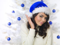 Blue Christmas Chick Stock Image