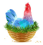 Blue Christmas chicken laying hen symbol of 2017 sits in basket nest on spruce branch
