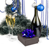 Blue Christmas composition with champagne on white Stock Photography