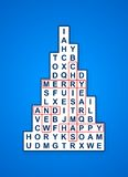 Blue christmas cross word tree card Stock Image