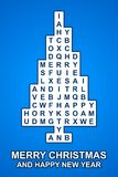 Blue christmas cross word tree card. With christmas sign Royalty Free Stock Photo