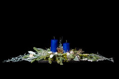 Blue christmas decoration. Christmas decoration with blue candles an silver ornate Stock Image