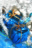 Blue Christmas decoration. Box with handbell and balls Stock Image