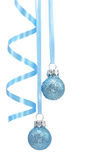 Blue christmas decoration. On white background Royalty Free Stock Photography