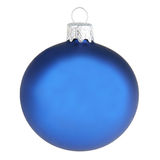 Blue christmas decoration ball isolated on white Royalty Free Stock Images