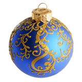 Blue christmas decoration ball isolated on white Royalty Free Stock Photography