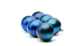 Blue christmas decoration balls. Stock Photo