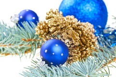 Blue Christmas decoration balls with cones Royalty Free Stock Photo