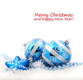 Blue christmas decoration baubles Stock Photos