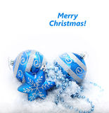 Blue christmas decoration baubles Royalty Free Stock Photo